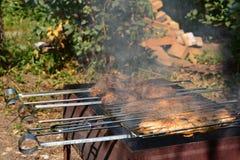 Preparación, cocinando kebabs en el carbón de leña al aire libre Imagen de archivo libre de regalías