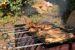 Preparación, cocinando kebabs en el carbón de leña al aire libre Fotografía de archivo