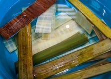 Preparación de bambú del papiro Fotos de archivo
