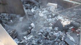 Preparación de carbones para la barbacoa almacen de video