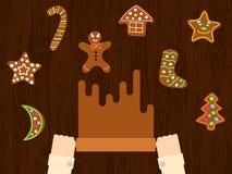 Preparación de estilo plano de la pasta del pan de jengibre de la Navidad Fotos de archivo