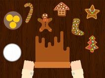 Preparación de estilo plano de la pasta del pan de jengibre de la Navidad Fotos de archivo libres de regalías
