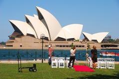 Preparación de la boda del teatro de la ópera de Sydney fotografía de archivo