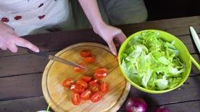 Preparación de la ensalada de las verduras frescas Cámara lenta almacen de video