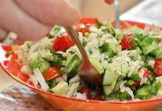Preparación de la ensalada del pepino, de la col, del tomate, de la cebolla y del eneldo imagen de archivo libre de regalías