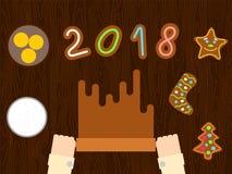 Preparación de la pasta del pan de jengibre de la Navidad para el estilo plano 2018 Fotos de archivo