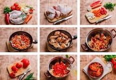 Preparación de la receta del pollo Fotografía de archivo