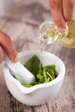 Preparación de la salsa de Pesto Imagen de archivo libre de regalías