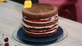 Preparación de la torta de chocolate con las cerezas La torta se empapa con el jarabe dulce para la humedad almacen de metraje de vídeo