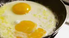 Preparación de los huevos fritos en una cacerola almacen de video