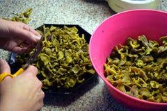 Preparación de los tubaeformis del cuerno de la abundancia para cocinar Fotos de archivo