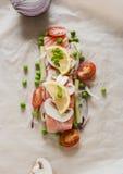 Preparación de pescados Prendedero de color salmón crudo con las verduras Imagen de archivo libre de regalías