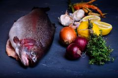 Preparación de salmones frescos con cocinar los ingredientes Plato de pescados Fotografía de archivo