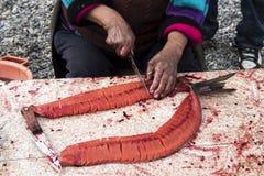 Preparación de salmones secados Foto de archivo libre de regalías