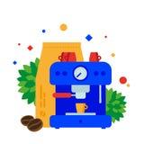 Preparación del café usando la máquina del café ilustración del vector