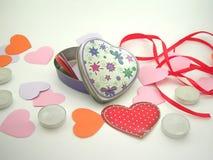 Preparación del día de tarjeta del día de San Valentín Foto de archivo