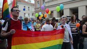 Preparación del desfile gay almacen de metraje de vídeo