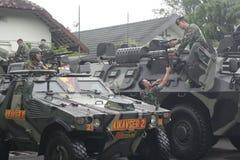Preparación del ejército nacional indonesio en la ciudad de Java Security a solas, central Foto de archivo libre de regalías