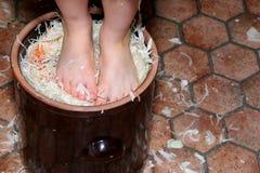 Preparación del sauerkraut Fotos de archivo