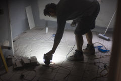 Preparación moler el piso Imagen de archivo