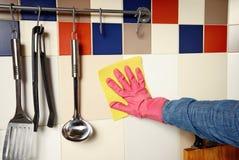 Preparación - mujer que limpia la cocina Fotografía de archivo libre de regalías