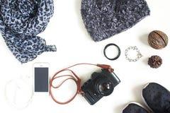 Preparación para el viaje, vacaciones del viaje, mofa del turismo para arriba de la célula pH Imagenes de archivo