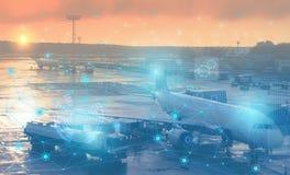 Preparación prevuela de los aviones para la salida Representación conceptual del uso de la tecnología moderna y del inte artifici imagenes de archivo