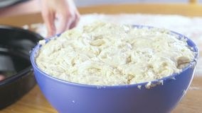 Preparación una empanada de la pasta de levadura en un cuenco plástico azul Opinión del primer almacen de video