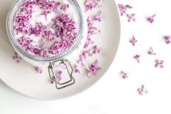 Preparaci?n p?rpura fresca hermosa del blossomsHomemade de la lila del az?car de la lila con fragancia que sorprende imágenes de archivo libres de regalías