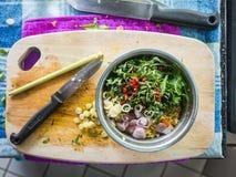 Preparación del asiático que cocina los ingredientes Fotografía de archivo