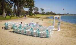 Preparaciones de la boda, bahía de la misión, San Diego Imágenes de archivo libres de regalías