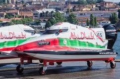 Preparaciones del barco de Team Abu Dhabi Imagen de archivo libre de regalías