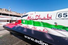 Preparaciones del barco de Team Abu Dhabi Fotos de archivo