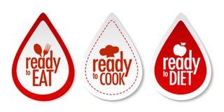 Preparado, dieta y etiquetas engomadas del cocinero Fotos de archivo