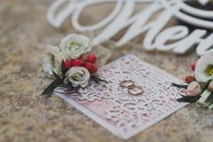 Preparado para la joyería y los accesorios del novio para casarse el cer Imagen de archivo libre de regalías