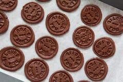 Preparando i biscotti del cioccolato con testo urgente 'ti amo' Fotografia Stock Libera da Diritti