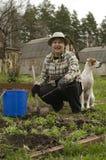 Preparando i letti per le verdure Immagini Stock