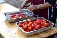 Preparando le verdure per chutney agosto 2016 Fotografia Stock