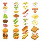 Preparando o cartaz colorido do molde passo a passo do fast food ilustração royalty free