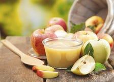 Preparando o puré ou o molho da maçã imagens de stock royalty free