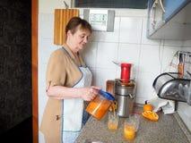 Preparando o suco das frutas e legumes frescas foto de stock