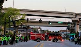 Preparar-se para começar o tanoeiro 2015 River Bridge Run Imagem de Stock