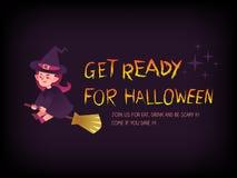 Preparar-se para o texto do Dia das Bruxas com a bruxa nos desenhos animados da vassoura Fotografia de Stock Royalty Free
