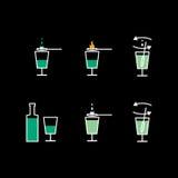 Preparation of absinthe liqueur. Preparation scheme Royalty Free Stock Photo