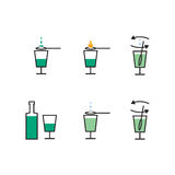 Preparation of absinthe liqueur. Preparation scheme Stock Photos
