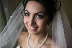 Preparation of adorable bride. Royalty Free Stock Photography