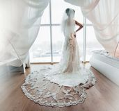 Preparation of adorable bride. Royalty Free Stock Photo