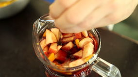 Preparation of alcoholic drinks Sangria stock footage