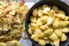 Preparation of applesauce Stock Photo