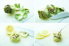 Preparation of artichoke Royalty Free Stock Images